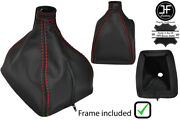 Red Stitch Leather Manual Shift Boot+plastic Frame For Volvo 240 740 940