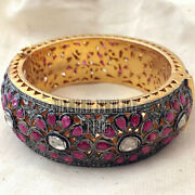 5.91ct Rose Antique Cut Diamond Ruby Studded Silver Vintage Style Bangle Jewelry
