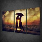 Kissing Couple Under Umbrella 3 Panels Canvas Print Picture Ready To Hang