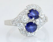 Antique 14k Gold 1.58ct Diamond And Sapphire Art Deco Engagement Ring Size 6.5