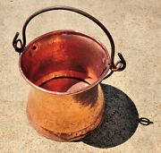 Beautiful Antique Solid Copper And Cast Iron Pot Jug Vessel Kettle Hand Hammered