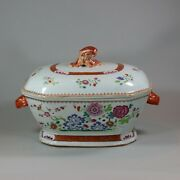 Antique Large Chinese Octagonal Famille Rose Tureen And Cover Qianlong 1736-95