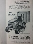 Snapper 1650 1650a Riding Lawn Garden Tractor And Mower Deck Owners Manual 1983