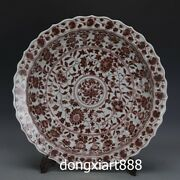 Chinese Brown Glaze Porcelain Pottery Lotus Flower Fruit Plates Tray Dish Salver