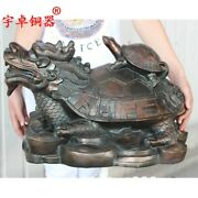 Chinese Pure Bronze Dragon Tortoise Turtle And Son Wealth Fengshui Animal Statue