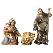 Sacra Famiglia In Legno Statue 4 Pcs. Presepe- Holy Family Wood-carved Statue