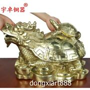 46 Cm Chinese Brass Dragon Tortoise Turtle And Son Wealth Fengshui Animal Statue