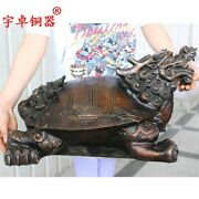 56 Cm Bronze Amulet Dragon Tortoise Turtle Chinese Wealth Fengshui Animal Statue