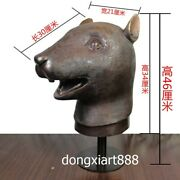 46 Cm Bronze Copper Chinese Zodiac Animal Lucky Mouse Rat Amulet Bust Sculpture
