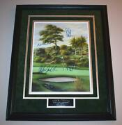 Tiger Woods And The Legends Of Golf Autographed Matted And Framed Lithoels Singh