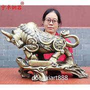 50cm China Zodiac Fengshui Animal Iron Painted Yellow Ox Oxen Bull Cattle Statue