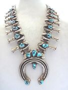 Grand Vintage Navajo Sterling Silver Turquoise Squash Blossom Necklace 264g