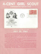 1199 4c Girl Scout Stamp Poster- Unofficial Souv Pg Ft W/artcraft Fdc