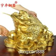 55 Cm Chinese Pure Brass Copper Wealth Fengshui Animal Money Toad Bufonid Statue