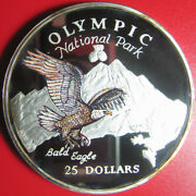 1996 Cook Islands 25 Bald Eagle 5oz Silver Proof Olympic Park Rare Mint=1,000
