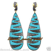 Victorian Inspired 4.03ct Pave Rose Cut Diamond Turquoise Silver Earring Jewelry