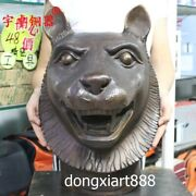 45 Cm Bronze Copper Chinese Zodiac Animal Lucky Tiger Head Amulet Bust Statue