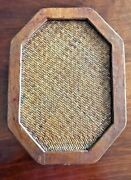 Vintage Straw Rattan Wicker Trivet Hot Pad With Stand Kitchenware Mid Century
