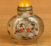 China Natural Hair Crystal Hand Inside Painting See Moon Study Snuff Bottle Gift