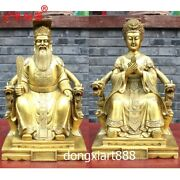 50 Cm Chinese Brass Myths Legends Heaven Lived Jade Emperor Queen Mother Statue
