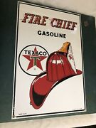 Sealed Porcelain Texaco Fire Chief Gasoline Sign Repro By Ande Rooney 16andrdquox11andrdquo