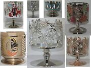Bath And Body Works 3-wick 14.5 Oz Pedestal Candle Sleeve Holder Gold Silver Upick