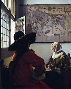 Officer And A Laughing Girl By Johannes Vermeer. Canvas People. 11x14 Print
