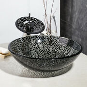 Chrome Tap Tempered Vessel Sink With Faucet Bath Waterfall Bowl Combo Glass