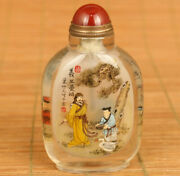 China Natural Crystal Hand Inside Painting Make The Finishing Point Snuff Bottle