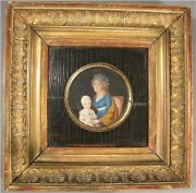 Mother And Child 18th Century Miniature Oil Portrait Painting Continental C 1750