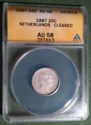 Netherlands - Key Date 1887 Silver 25 Cents - Anacs Au 58 Details - Cleaned