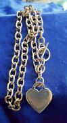 Sterling Silver Rolo Link Toggle Closure Heart Charm Chain Necklace 16 1/2