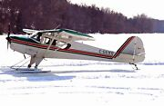 Taylorcraft F-19 Airplane On Skis. Airplane Repro Print On Canvas Or Paper