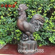 72 Cm Pure Bronze Chinese Zodiac Animal Chook Chicken Rooster Amulet Sculpture