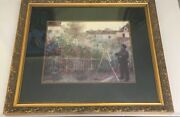 """Huge Vintage Antique Claude Monet Reproduction French Wood-framed Matted 38 X34"""""""