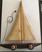 Huge Sailboat Pull Behind - Wooden Handmade Vintage Toy By S.d. Meadows 19andrdquox 14andrdquo