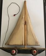 Huge Sailboat Pull Behind - Wooden Handmade Vintage Toy By S.d. Meadows 18andrdquox 14andrdquo