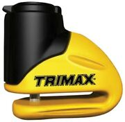 Trimax Motorcycle Rotor Disc Lock 5.5 Mm Pin Yellow Carry Pouch Reminder T645s