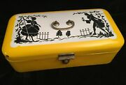 Antique Enamelware Bread Box - Yellow With Black Silhouettes