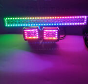 Rgb Chasing Halo 32 Inch Led Light Bar + 4 Pods Cube For Atv Suv Truck Boat