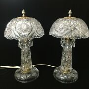 Pair Of Vintage Czech Bohemian Cut Crystal Table Lamps 19tall 10 Widest