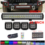 20 Led Light Bar + 4x 3 Pods W/ Rgb Angel Halo Ring Chasing For Suv Truck Boat