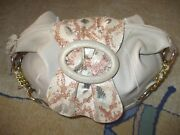 Chi By Falchi Gorgeous Tan Textured Leather Snakeskin Shoulder Bag Hobo Tote 97