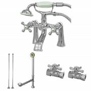 Kingston Vintage Double Handle Wall Mount Clawfoot Tub Faucet W/ Hand Shower