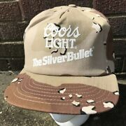 Coors Beer Camouflage Trucker Hat Cap Vintage Camo Light Made In Usa