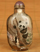 Big Natural Hair Crystal Hand Painting Panda Lovely Snuff Bottle