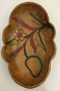"""New Woodcroftery Fruit Carved Wooden Bowl Dish 12.5 X 8"""""""