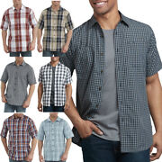 Shirts Mens Short Sleeve Plaid Icon Relaxed Fit Yarn Dyed Shirt Ws525