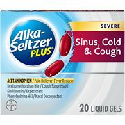 Alka-seltzer Plus Severe Sinus Cold And Cough Non-drowsy Liquid Gels 20 Ct, 3 Pack
