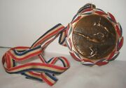 Old Unusual Metal Patriotic Faux Olympic Swimming Medal Award W/ Red White Blue